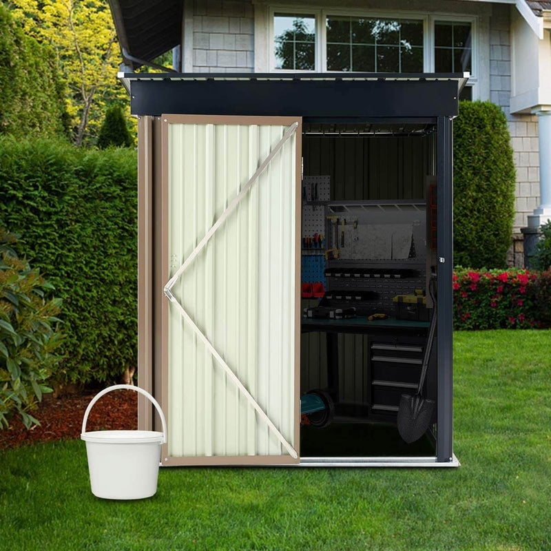 5' x 3' Outdoor Metal Storage Shed, Steel Garden Backyard Sheds with Single Door & Lock, Utility Tool Storage, Gray and Black