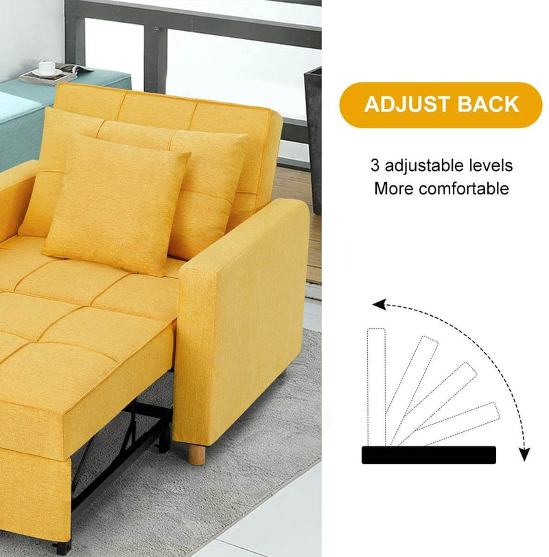 Sofa Bed 3-in-1 Convertible Chair Multi-Functional Adjustable Recliner, Sofa, Bed, Modern Linen Fabric, Yellow