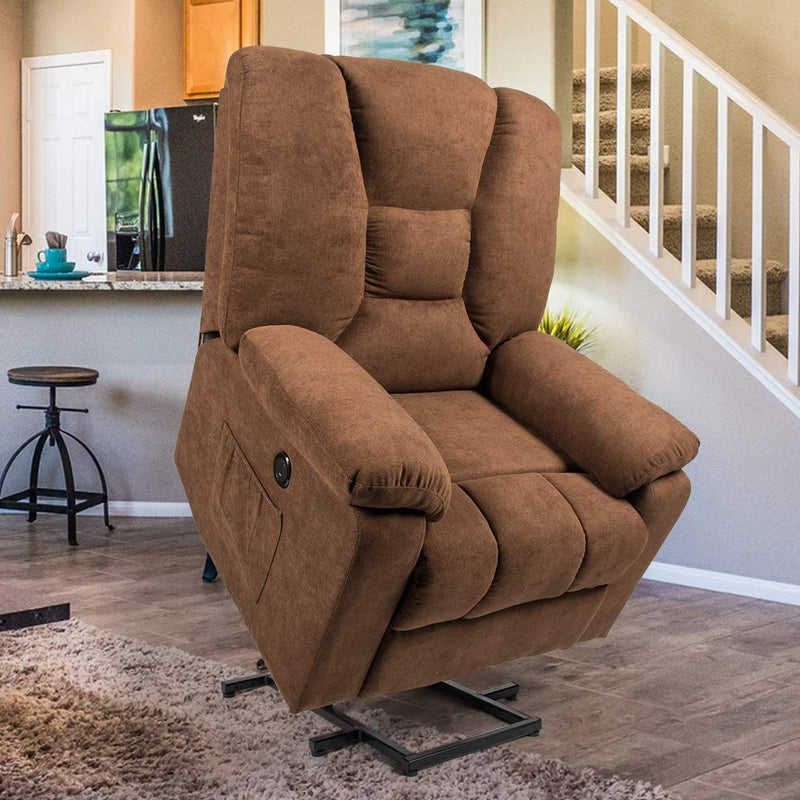 Microfiber Power Lift Electric Recliner Chair with Heated Vibration Massage Sofa Fabric Living Room Chair with 2 Side Pockets, USB Charge Port & Remote Control, Brown
