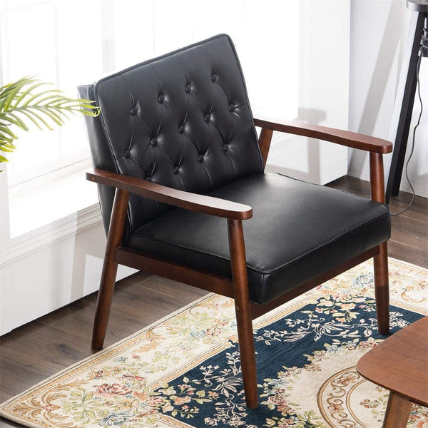 Mid-Century Accent Chair Retro Faux Leather Upholstered Wooden Lounge Chair