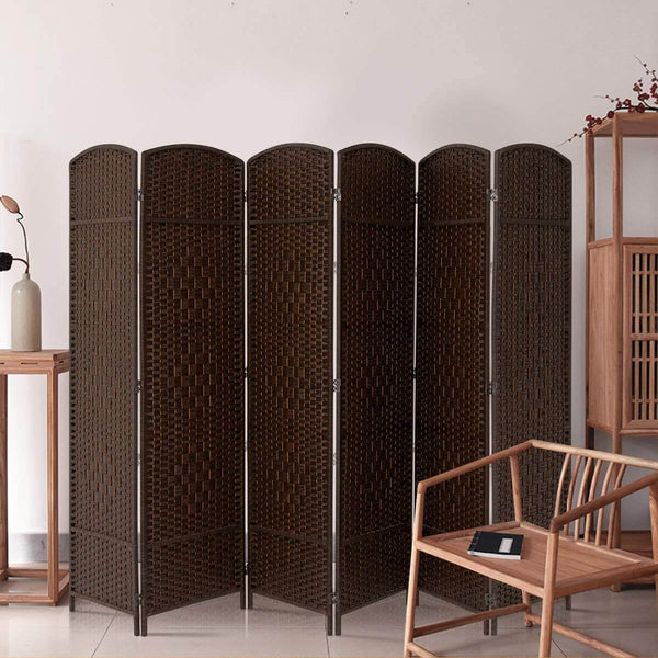6 Panels Room Divider, 6 FT Tall Weave Fiber Room Divider, Double Hinged,Folding Privacy Screens, Freestanding Room Dividers, Coffee