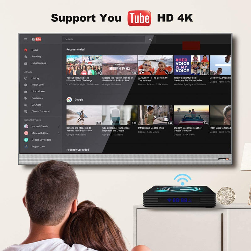 TV Box for Android 9.0 TV Box S905X3 4K HDR Ultra-HD Quad-core Streaming Network Media Player 2/4GB RAM & 64GB ROM