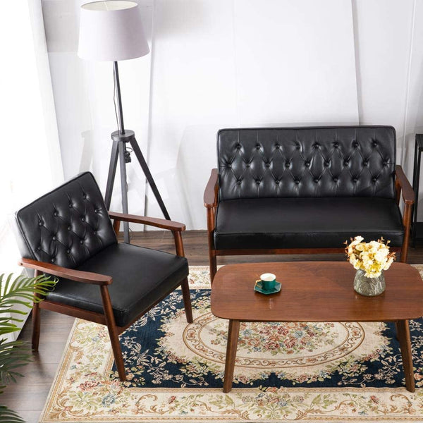 Mid-Century Accent Chair Retro Faux Leather Upholstered Wooden Lounge Chair Black Set