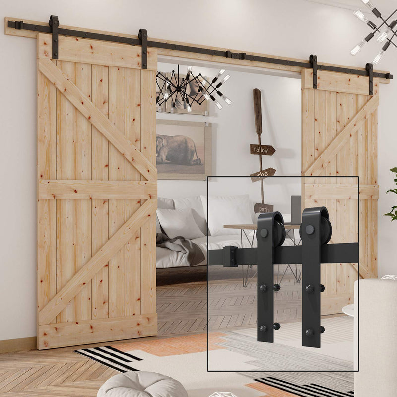 12 FT Barn Double Door Hardware Classic J Shape Carbon Steel Bi-parting System 144inch
