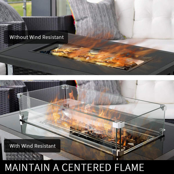 Fire Pit Tempered Glass Wind Guard Wind Resistant Glass for Rectangle Table