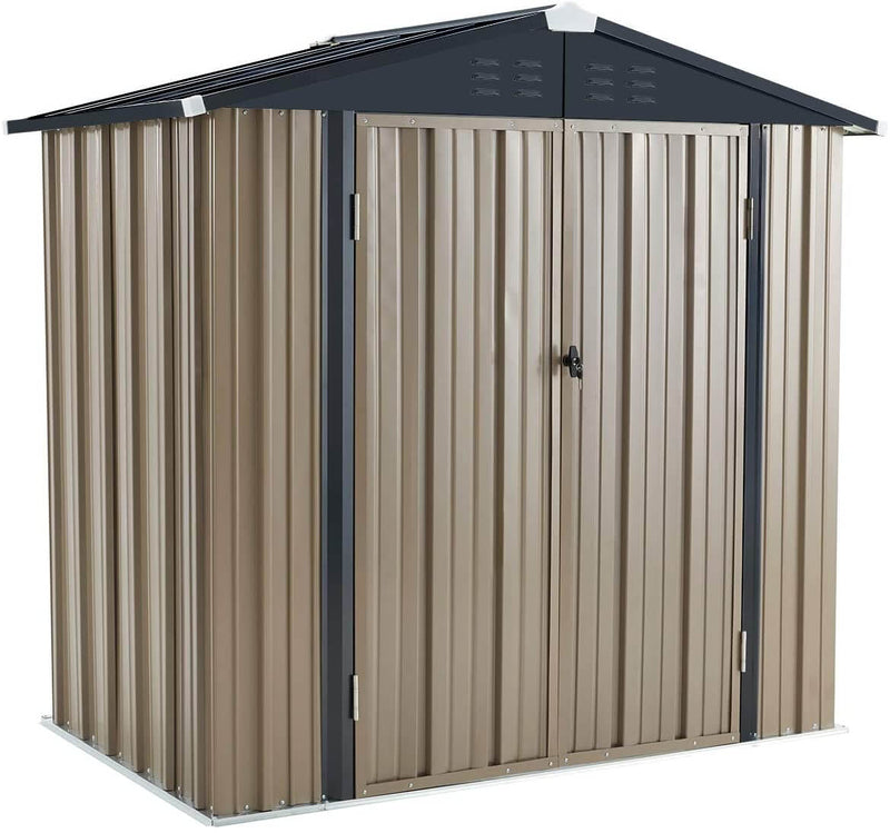 6' x 4' Outdoor Metal Storage Shed, Steel Garden Backyard Sheds with Double Door & Lock, Utility Tool Storage, Gray and Black