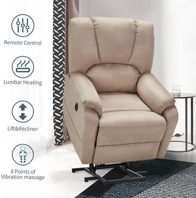Electric Power Lift Recliner Chair Sofa with Massage and Heat for Elderly, Microfiber Recliner Chair with Side Pockets & USB Port, Beige