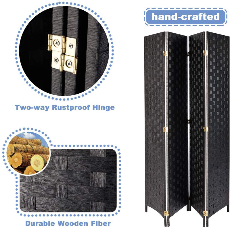 4 Panels Room Divider, 6 FT Tall Weave Fiber Room Divider, Double Hinged, Folding Privacy Screens, Freestanding Room Dividers, Black