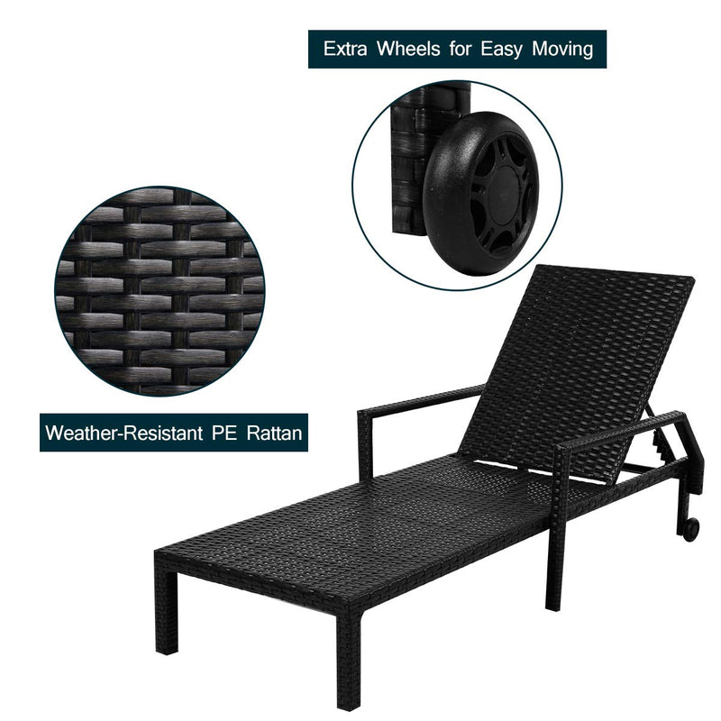 Adjustable Outdoor Chaise Lounge Chair Rattan Wicker Patio Lounge Chair with Cushion and Wheels,Black