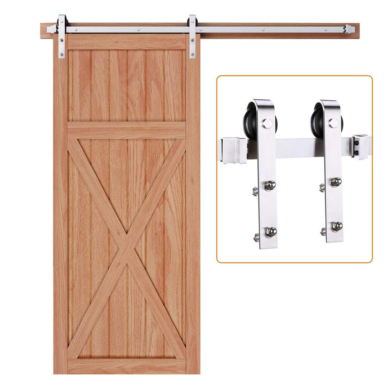 Brushed Nickle Sliding Barn Door Hardware Track Kit Ultra Hard Sturdy J Shape