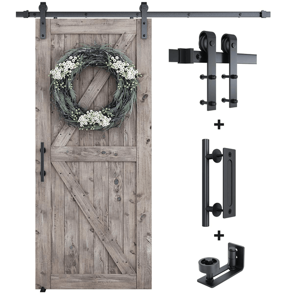 Sliding Barn Door Hardware Combo Barn Door Hardware Bundle J Shape 6.6 FT Track