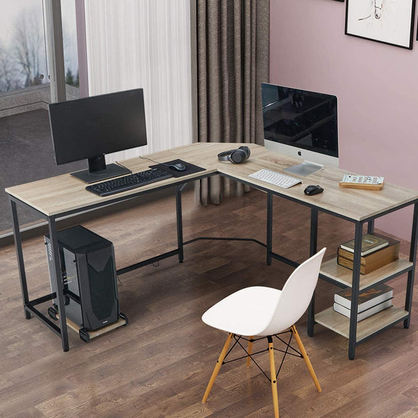 L-Shaped Computer Desk Space-Saving Corner Desk with Storage Shelves Desk Study Workstation for Home Office