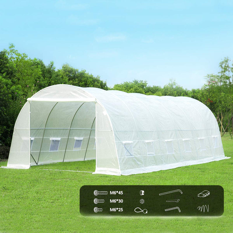 26' x 10' x 7' Large Tunnel Greenhouse, Walking in Hoop Greenhouse, Plant Hot House , White