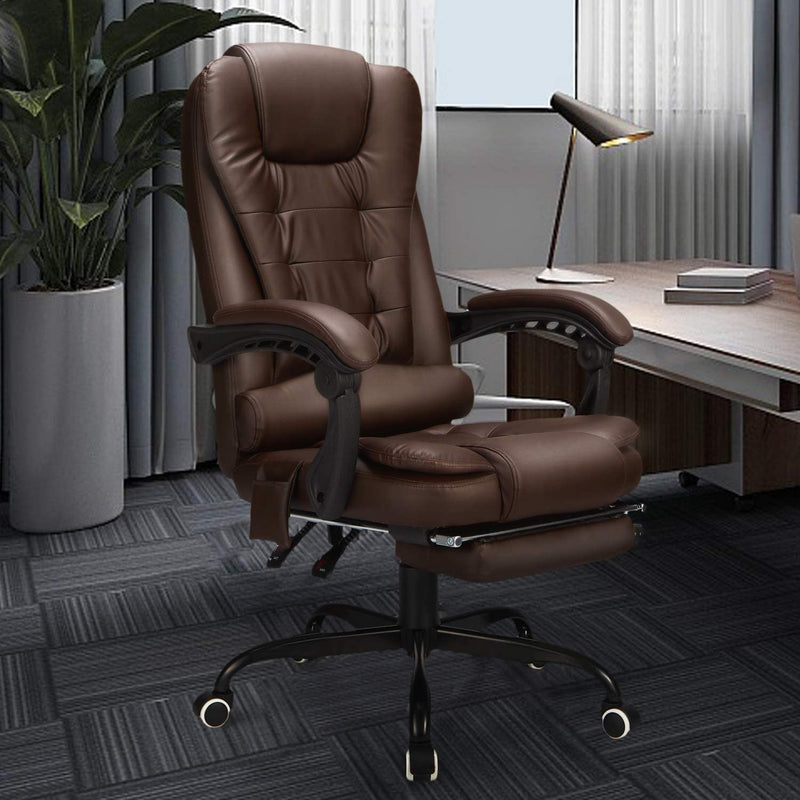 Reclining Leather Office Chair with Retracable Footrest, Ergonomic High Back Executive Adjustable Office Chair (Brown)