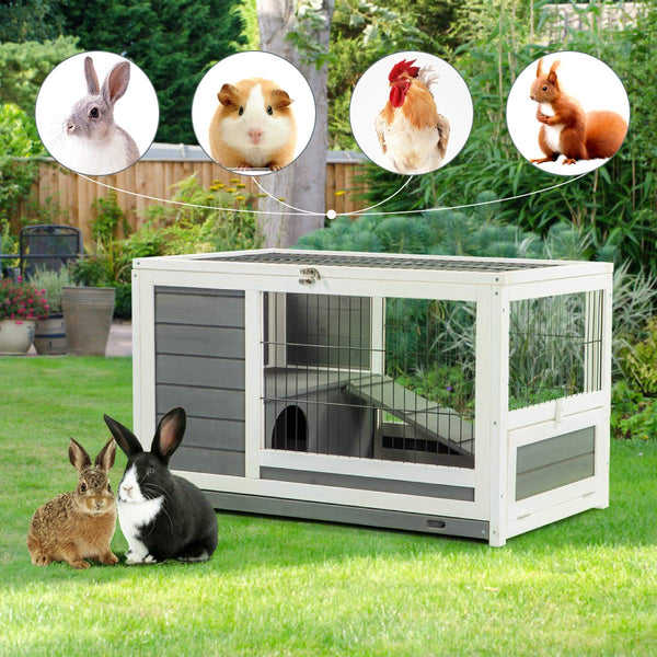 Pet House for Small Animals Indoor & Outdoor No Leak Trays & Ladder (35.4 inches)