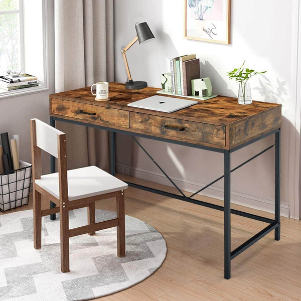 Industrial Computer Desk, Writing Study Table with 2 Drawers,Notebook PC Workstation,Wood Desktop Black Steel Frame, for Home,Office