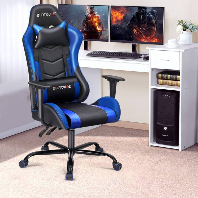 Gaming Chair Massage Ergonomic Office Chair High Back Computer Chair Racing PU Leather Recliner with Headrest & Lumbar Pillow, Black & Blue