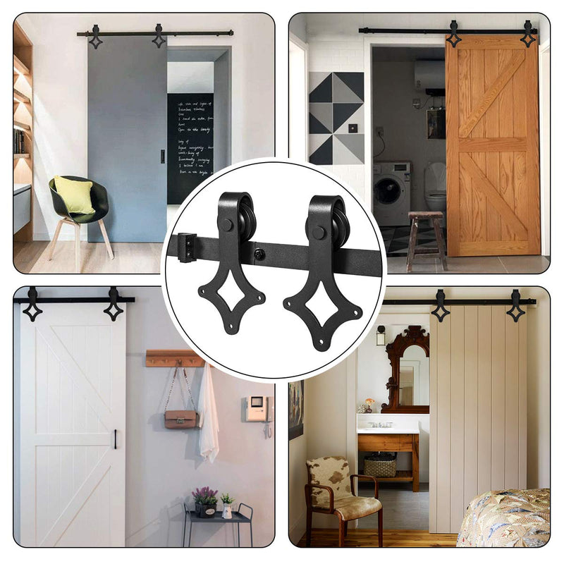 HomHum Sliding Barn Door Hardware Kit Rhombic Shape Heavy Duty Sturdy Modern