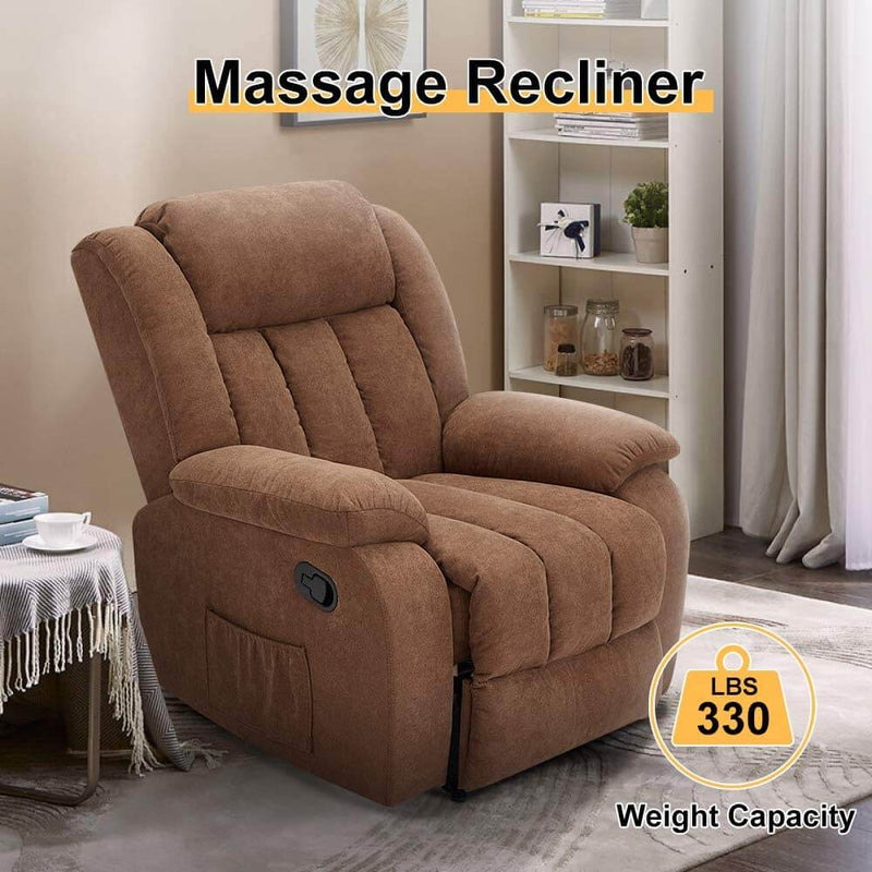 Massage Recliner Chair Fabric Heated Ergonomic Lounge Chair Overstuffed Reclining Chair Single Sofa for Living Room, Remote Control, Chocolate