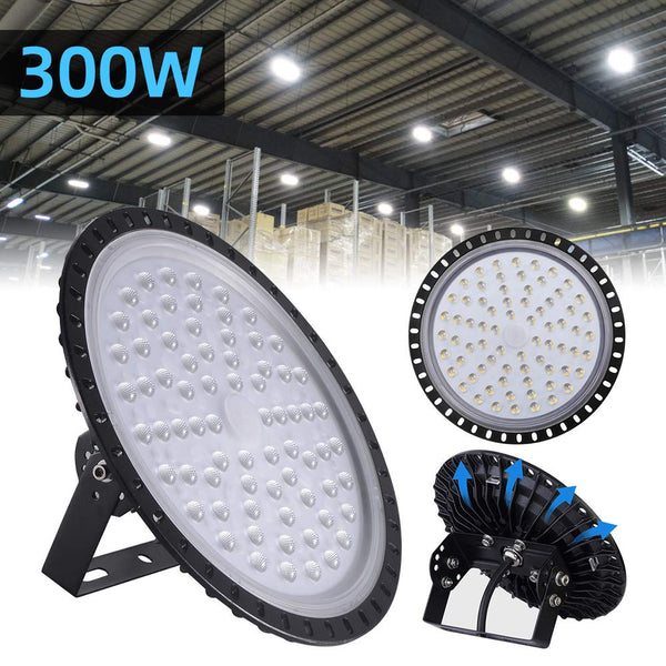 300W LED UFO Industrial Lamp Cold White LED High Bay Light Workshops Factory 4 Pcs