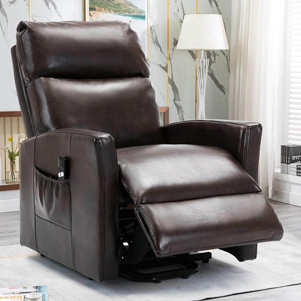 Lift Recliner Chair, Overstuffed Lift Chairs for Elderly with Remote, 3 Position & Side Pocket, Power Reclining Chair for Living Room, Faux Leather, Brown