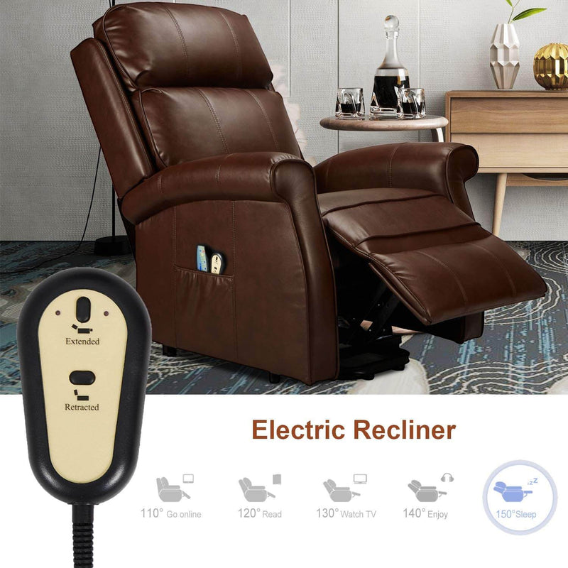 Electric Power Lift Recliner Chair, Faux Leather Electric Recliner for Elderly with Heated Vibration Massage, Side Pocket & Remote Control, Brown