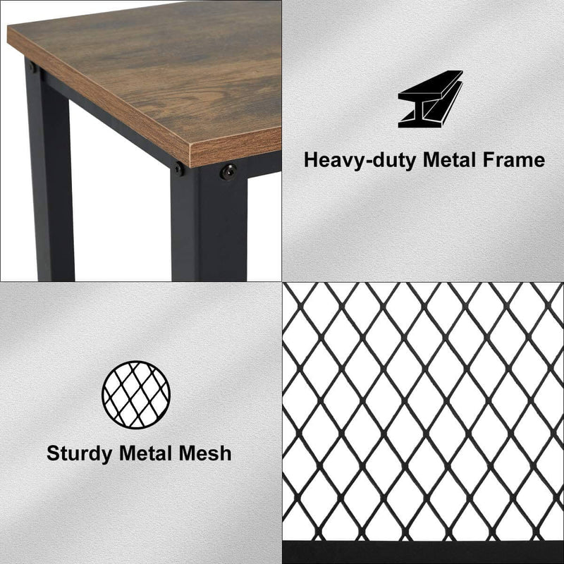 Industrial Console Table, 2 Layer Wooden Entryway Storage Table, Sofa Table with Metal Frame, for Living Room, Hallway
