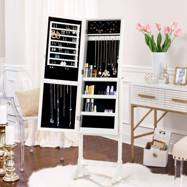 Floor Standing Jewelry Armoire, Angle Adjustable Jewelry Organizer, Dressing Mirror Jewelry Cabinet with Full Length Mirror, White