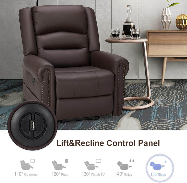 Power Lift Recliner Chair for Elderly, Faux Leather with Rivet Design Electric Recliner Chair with Heated Vibration Massage, Side Pockets & USB Port, Dark Brown