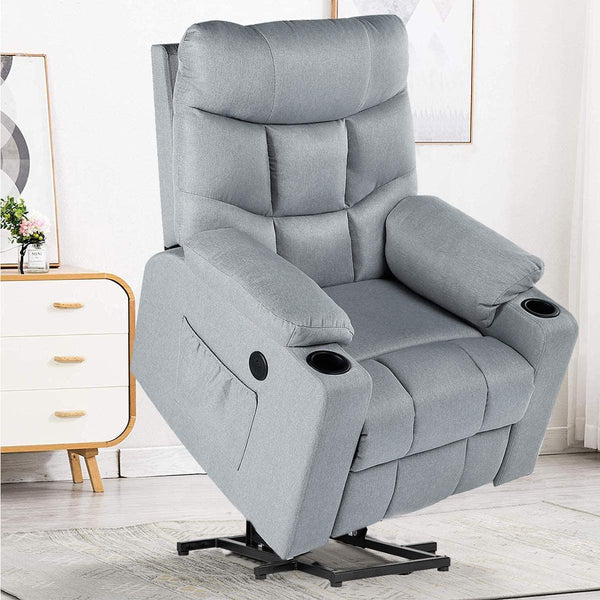 Power Lift Chair Electric Recliner for Elderly Heated Vibration Fabric Sofa Living Room Chair with 2 Side Pockets and Cup Holders, USB Charge Port & Remote Control, Gray