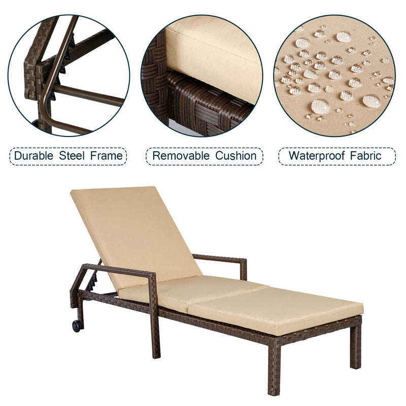 Adjustable Outdoor Chaise Lounge Chair Rattan Wicker Patio Lounge Chair with Cushion and Wheels,Brown