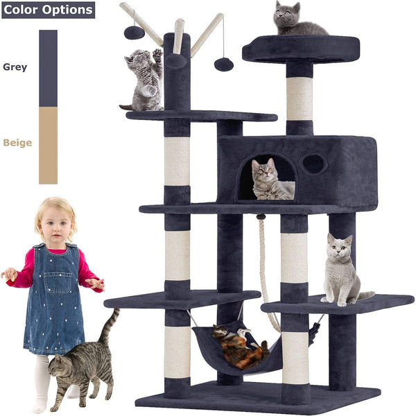 Cat Tree Tower Condo Playground Cage Kitten Multi-Level 56 inches Activity Center Play House