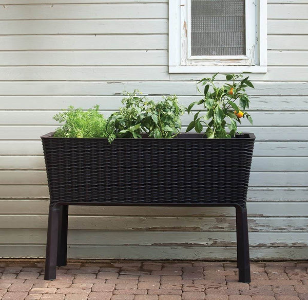 31.7 Gallon Raised Garden Bed with Self Watering Planter Box and Drainage Plug, Brown