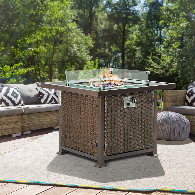 32'' Propane Gas Fire Pits Table, Auto-Ignition Gas Firepit with Glass Wind Guard, Black Tempered Glass Tabletop & Glass Rock, Brown PE Rattan