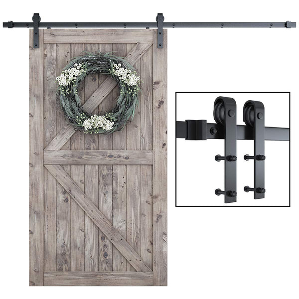 6.6 ft Sliding Barn Door Hardware Antique Style Carbon Steel Single Barn Door Hardware Kit