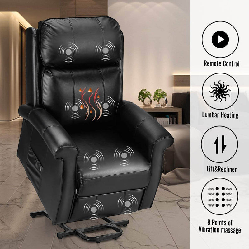 Electric Power Lift Recliner Chair, Faux Leather Electric Recliner for Elderly with Heated Vibration Massage, Side Pocket & Remote Control, Black