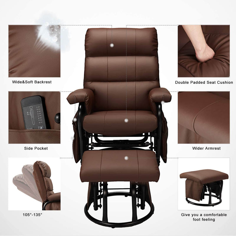 Glider Recliner with Ottoman, Swivel Glide Chair, Faux Leather Lounge Recliner with Footrest, Vibration Massage Lounge Chair with Side Pocket, Brown