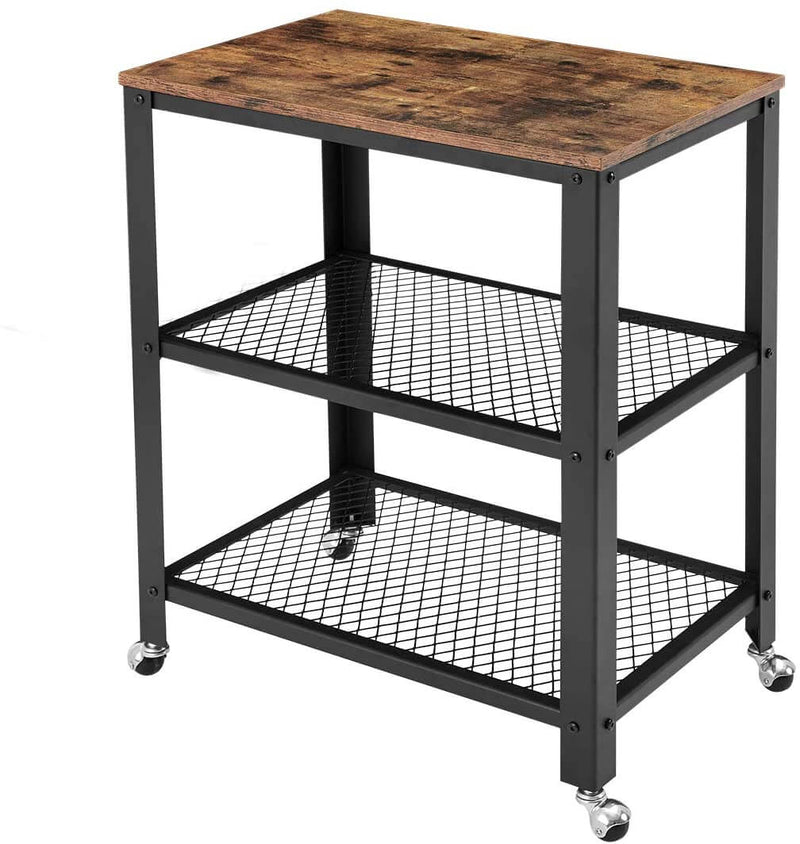 Industrial Kitchen Cart 3-Tier, Rolling Serving Cart on Wheels with Storage, Microwave Cart for Kitchen, Vintage Brown