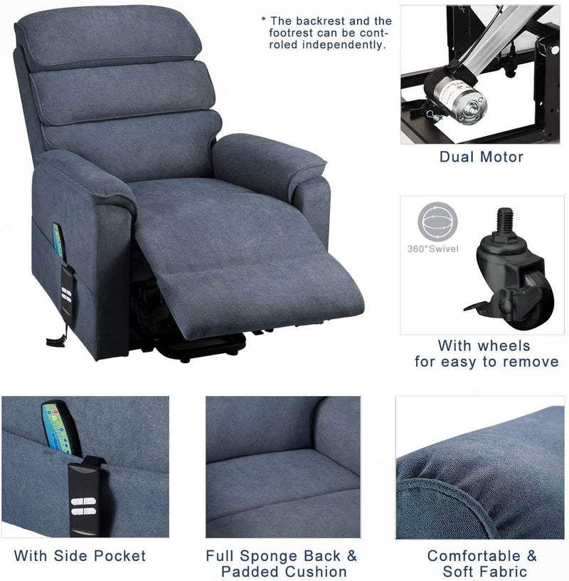 Dual Motor Electric Power Recliner Lift Chair Linen Fabric Electric Recliner for Elderly, Heated Vibration Massage Sofa with Side Pockets & Remote Control, Gray-Blue
