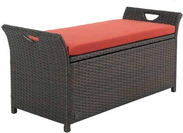 Outdoor Storage Bench with Wing Handles, Rattan Style Deck Box with Red Cushion