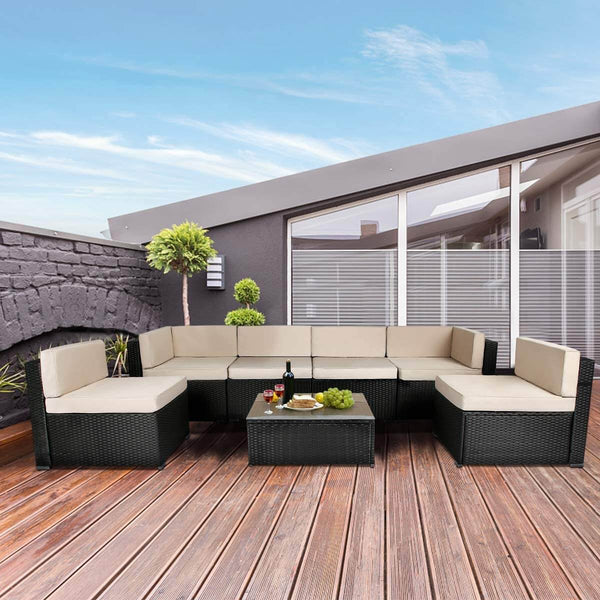 7 Piece Outdoor Patio Furniture Set, PE Rattan Wicker Sofa Set, Outdoor Sectional Furniture Chair Set with Cushions and Tea Table, Black