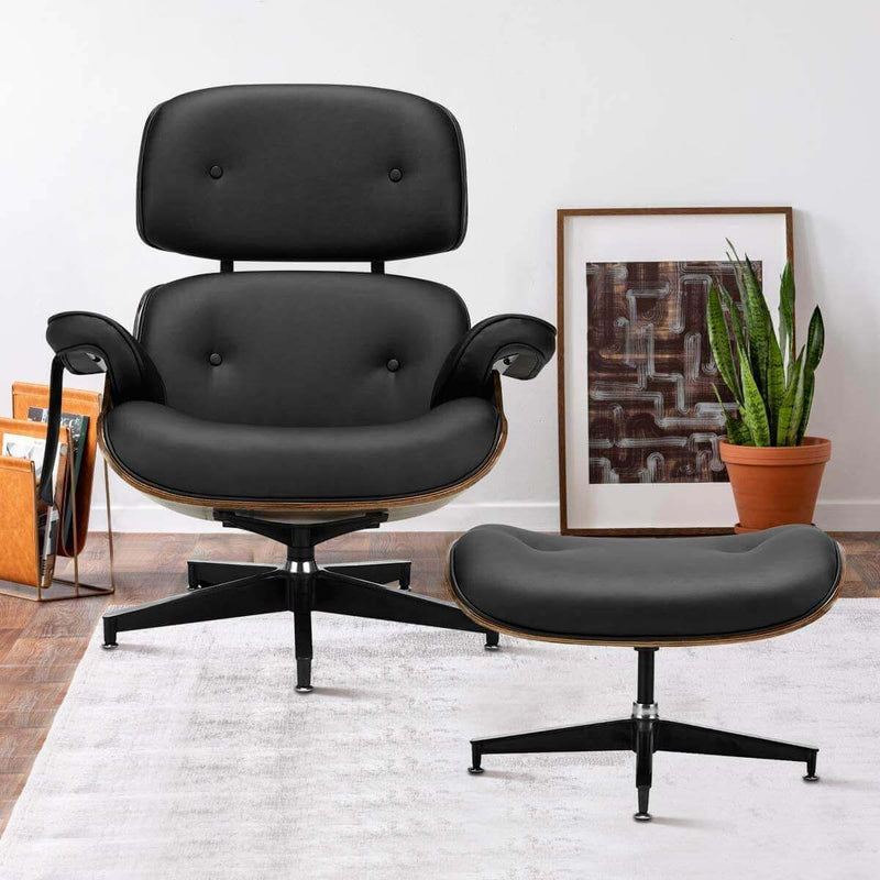 Mid Century Lounge Chair with Ottoman, Classic Lounge Chair Premium Faux Leather with Light Vibration Massage Function and Storage Bag(Black)