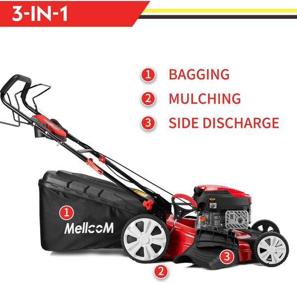 Mellcom Gas Lawn Mower Trimming Mower, 4-in-1 Rear Wheel Drive Trimmer with 16 Gal Grass Box, 8 Adjustable Mower Heights, Adjustable & Foldable Handlebars