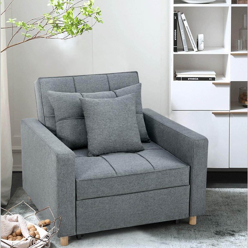 Sofa Bed 3-in-1 Convertible Chair Multi-Functional Adjustable Recliner, Sofa, Bed, Modern Linen Fabric, Dark Gray