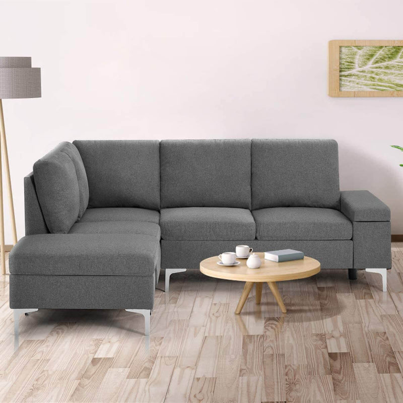 Convertible Sectional Sofa Couch with Ottoman, Sofa Armrest with Storage Function, L-Shaped Sofa with Gray Linen Fabric, for Living Room or Apartment (Left)