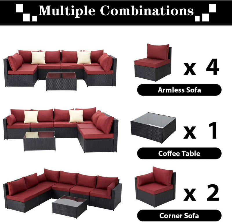 7-Piece Wicker Outdoor Patio Sectional Furniture Set Rattan Patio Conversation Furniture Sets Wicker Sofa Set with Red Cushion