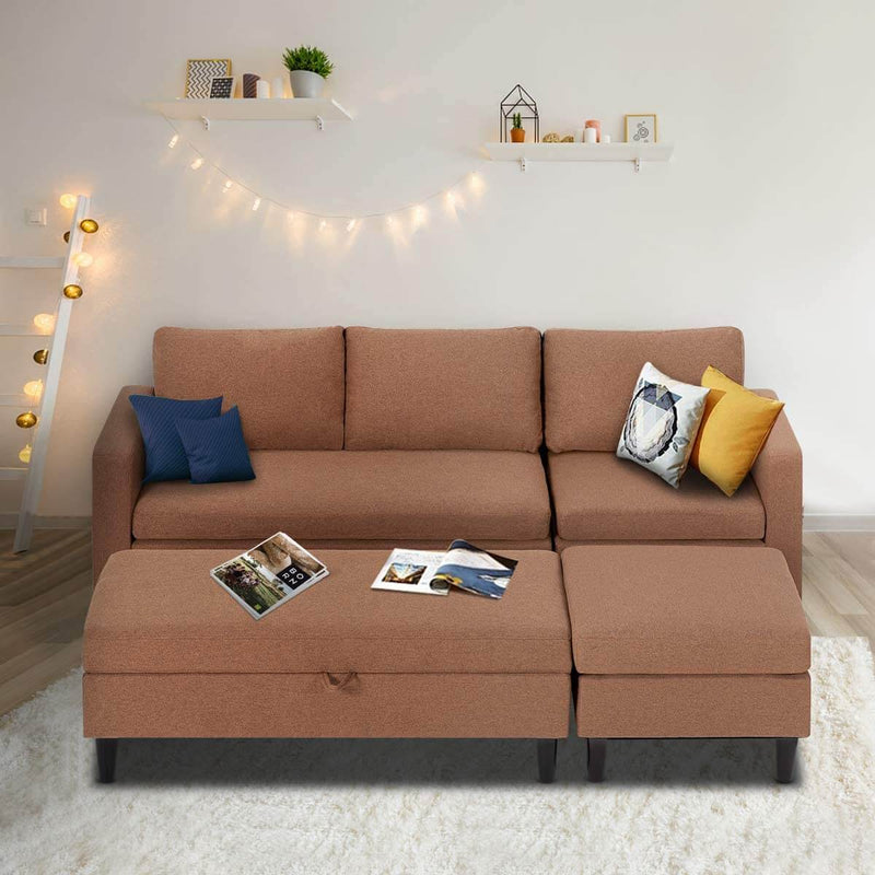 Sectional Sofa with Ottoman and Chaise Lounge, 3-Seat Living Room Furniture Sets, L-Shape Couch Sofa for Living Room, Brown