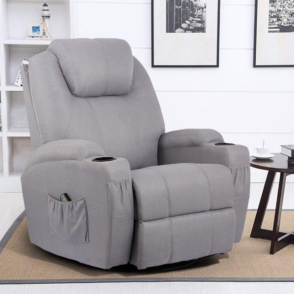 Grey Fabric Massage Recliner Chair 360 Degree Swivel Heated Ergonomic Lounge