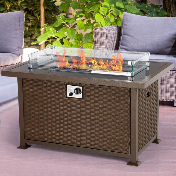 44in Propane Gas Fire Pit Table, Auto-Ignition Gas Firepit with Glass Wind Guard, Black Tempered Glass Tabletop & Blue Glass Stone, Brown Rattan