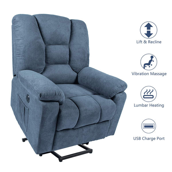 Power Lift Microfiber Electric Recliner Chair with Heated Vibration Massage Sofa Fabric Living Room Chair with Side Pockets, USB Charge Port & Massage Remote Control, Blue
